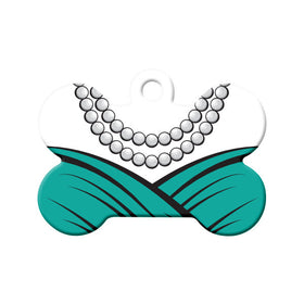 Teal Dress & Pearls Formal Wear Bone Pet ID Tag