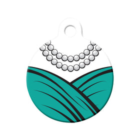 Teal Dress & Pearls Formal Wear Circle Pet ID Tag