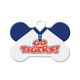Go Tigers! Baseball Tee Bone Pet ID Tag