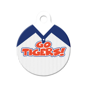 Go Tigers! Baseball Tee Circle Pet ID Tag