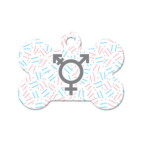 Transgender Confetti Bone Pet ID Tag