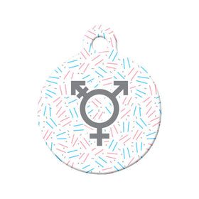 Transgender Confetti Circle Pet ID Tag