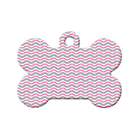 Wavy Pink Pattern Bone Pet ID Tag