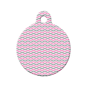 Wavy Pink Pattern Circle Pet ID Tag
