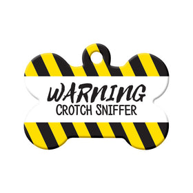Warning Crotch Sniffer Bone Pet ID Tag