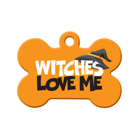 Witches Love Me Bone Pet ID Tag