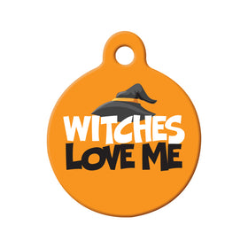 Witches Love Me Circle Pet ID Tag