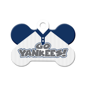 Go Yankees! Baseball Tee Bone Pet ID Tag