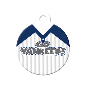 Go Yankees! Baseball Tee Circle Pet ID Tag
