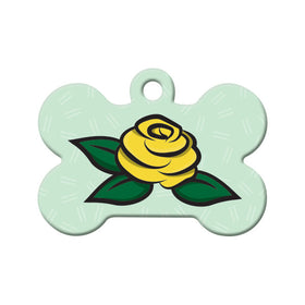 Yellow Rose Floral Bone Pet ID Tag