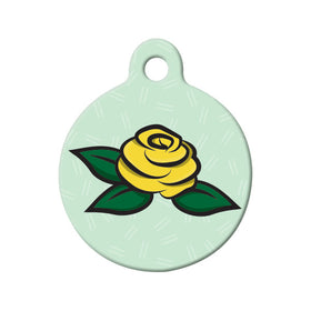 Yellow Rose Floral Circle Pet ID Tag
