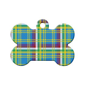 Yukon Tartan Pattern Bone Pet ID Tag