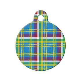 Yukon Tartan Pattern Circle Pet ID Tag