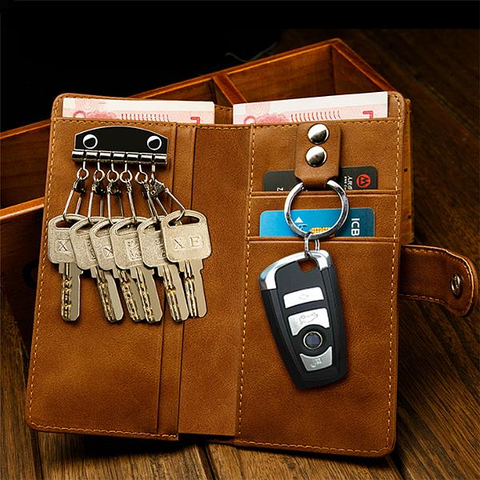Men Multifunction Wallet Card Holder Changes Purse Car Key Holder PU Leather Wallet