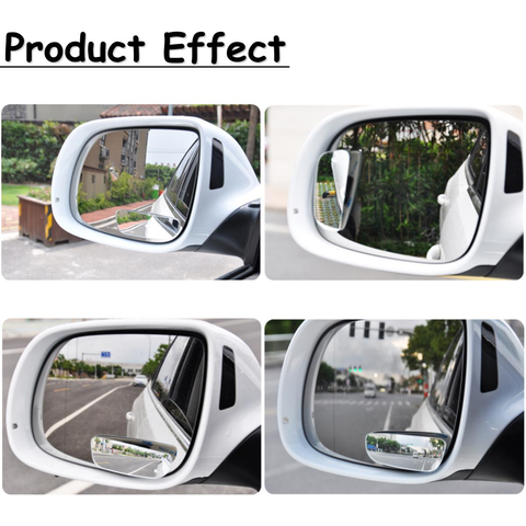 2pcs Slim Car Rear View Blind Spot Mirror 360° Rotating Convex Wide Angle Glass