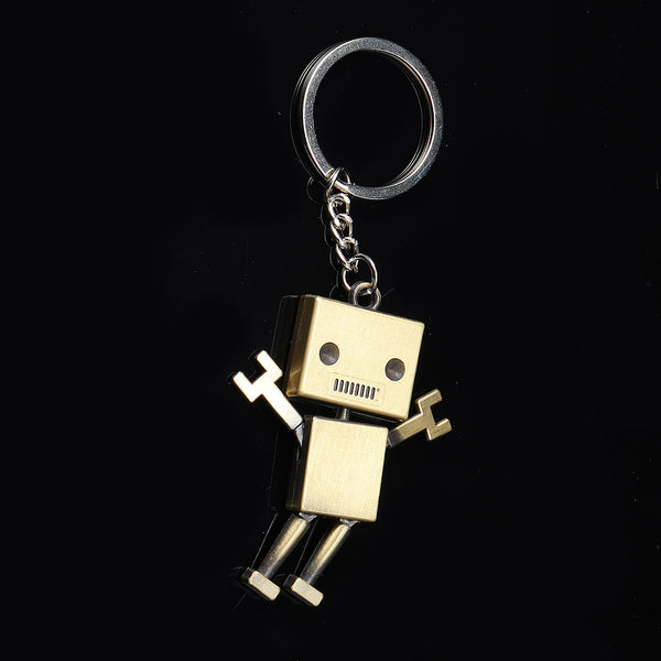 Robot Keychain Bronze Alloy Portable Car Key Chain Key Ring for Women Men