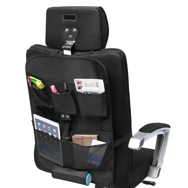 Black Oxford Car Seat Back Storage Bag Multi-Pocket with 4 USB Ports Universal
