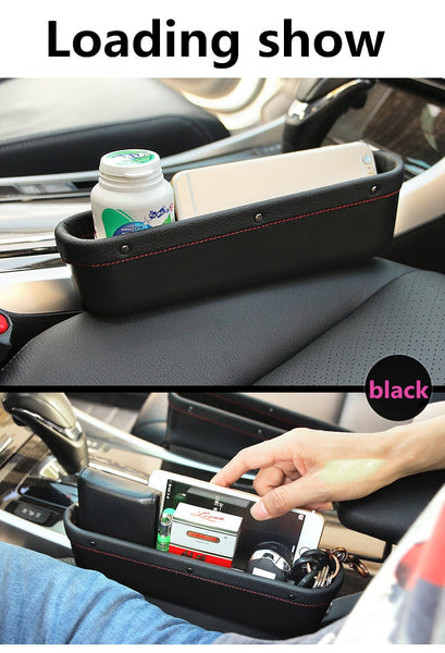 Leather Car Seat Storage Box Auto Seat Gap Pocket Organizer For Phone Card Cigarettes Storage