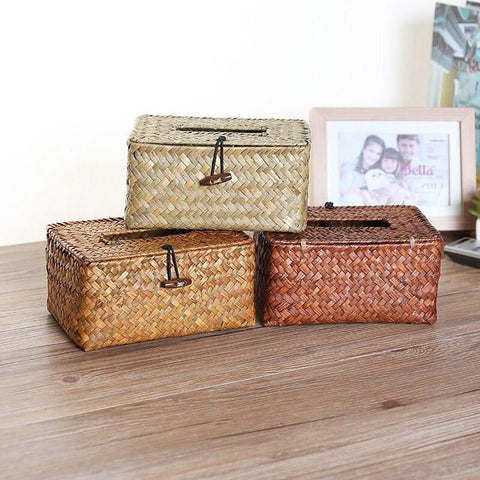 Handmade Seaweed Storage Box Car Tissue Box Sundries Holder Table Desktop Organizer