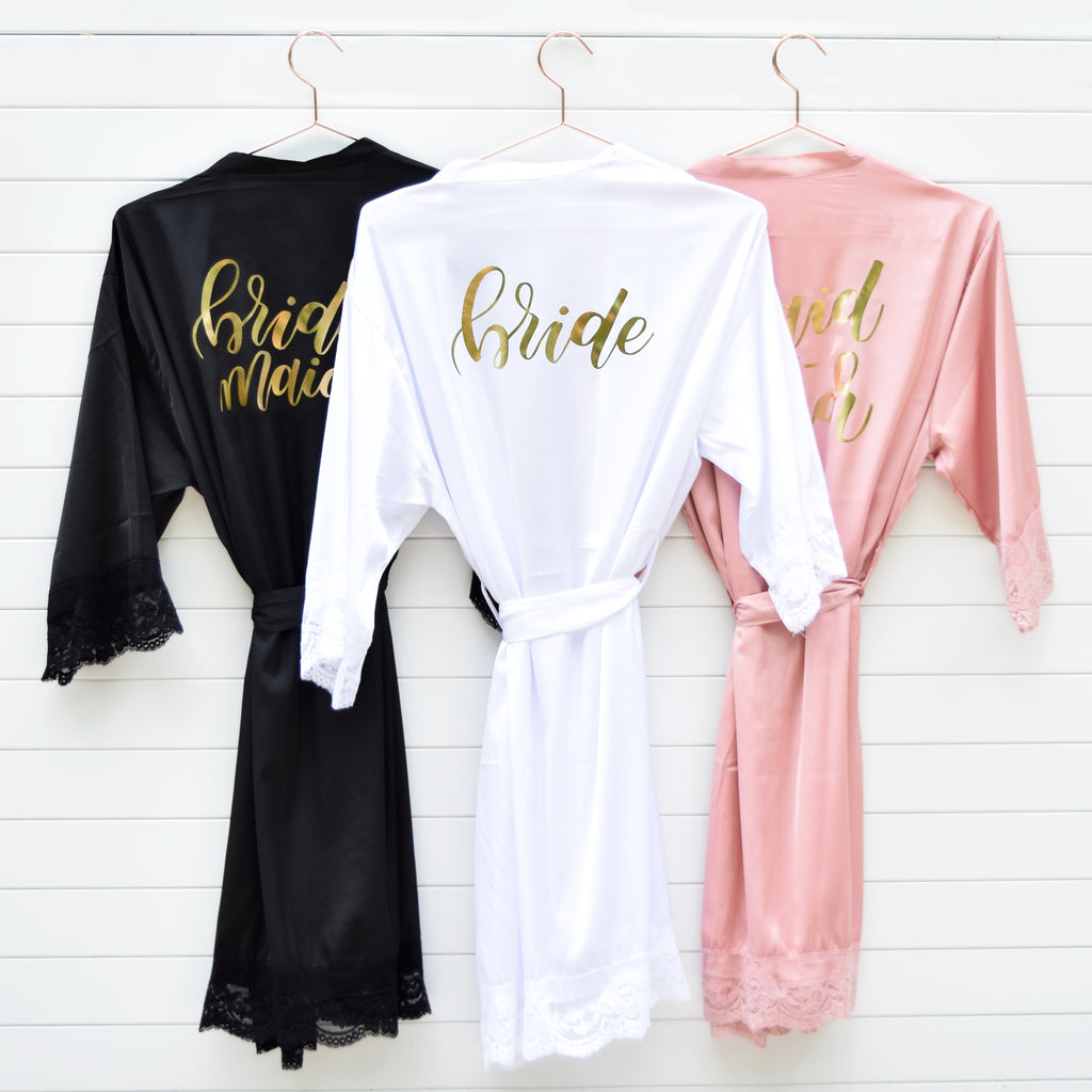 Plus Size Bridal Party Robe Hand lettering Font