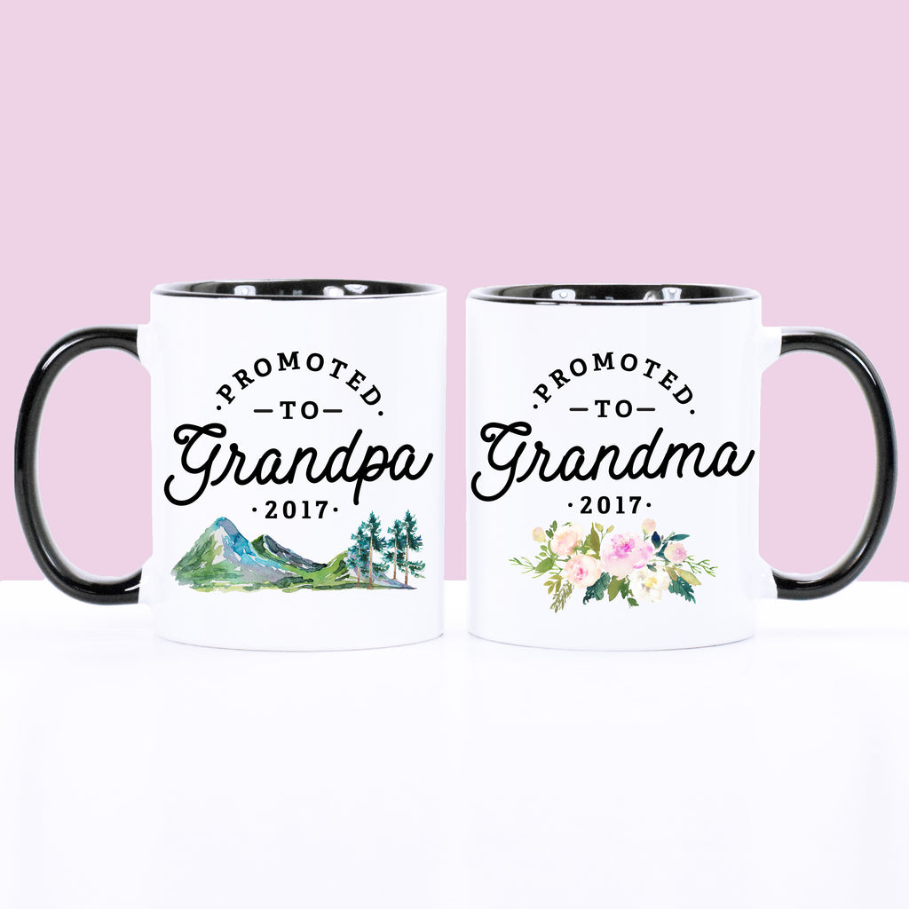 Promoted to Grandparents Set Floral/Mountains