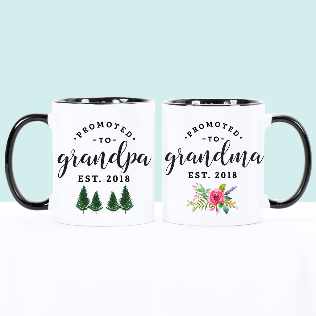 Promoted to Grandparents Set Floral