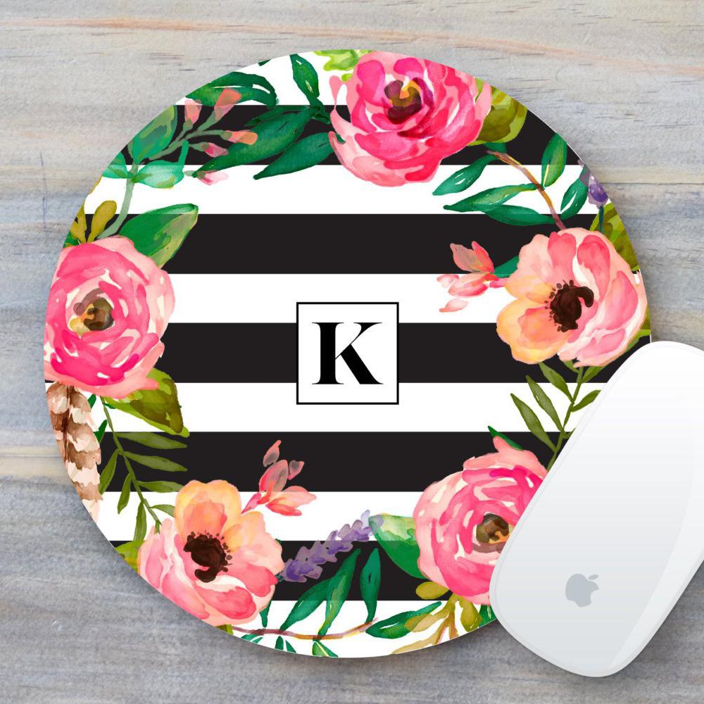 Floral Mouse Pad with Monogram