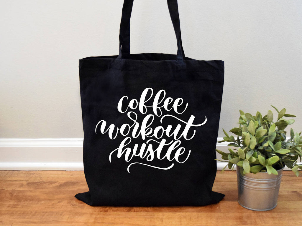 Coffee Workout Hustle Canvas Tote Bag