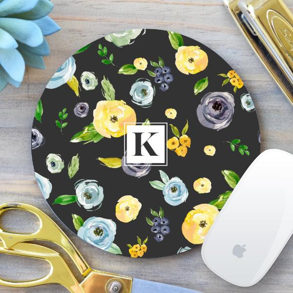 Yellow Floral Monogram Mouse Pad