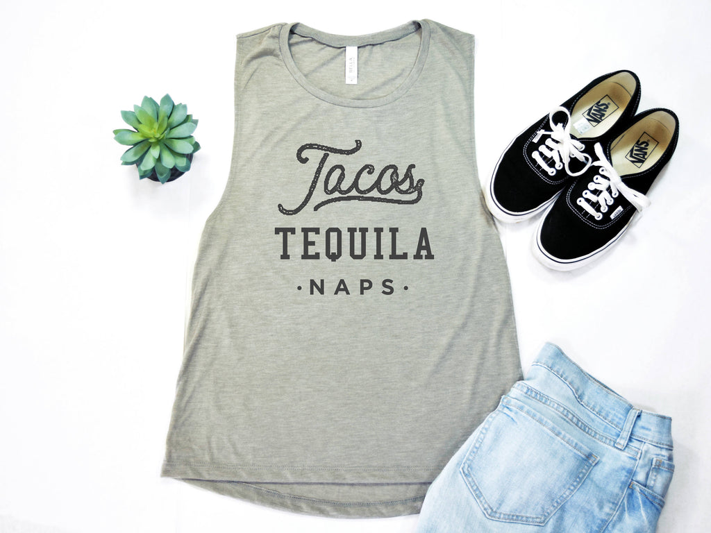 Tacos Tequila Naps Muscle Tee