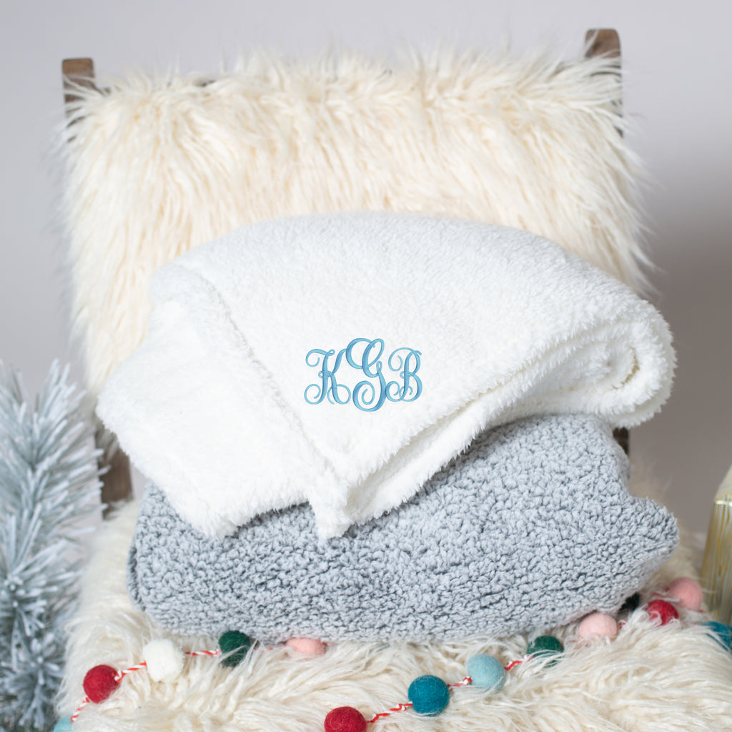 Embroidered Sherpa Blanket