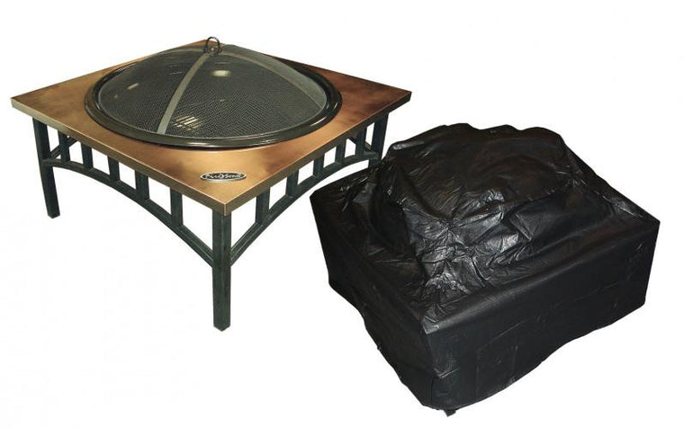 Outdoor Square Fire Pit Vinyl Cover , Well Traveled Living- grayburd