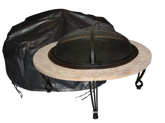 Large Outdoor Round Fire Pit Vinyl Cover - grayburd