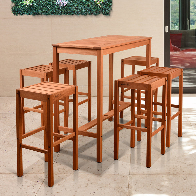 Amazonia Westerdam 7 Piece Rectangular Patio Bar Set