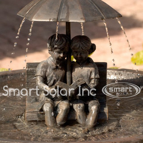 Umbrella Solar Fountain: Boy & Girl on Bench