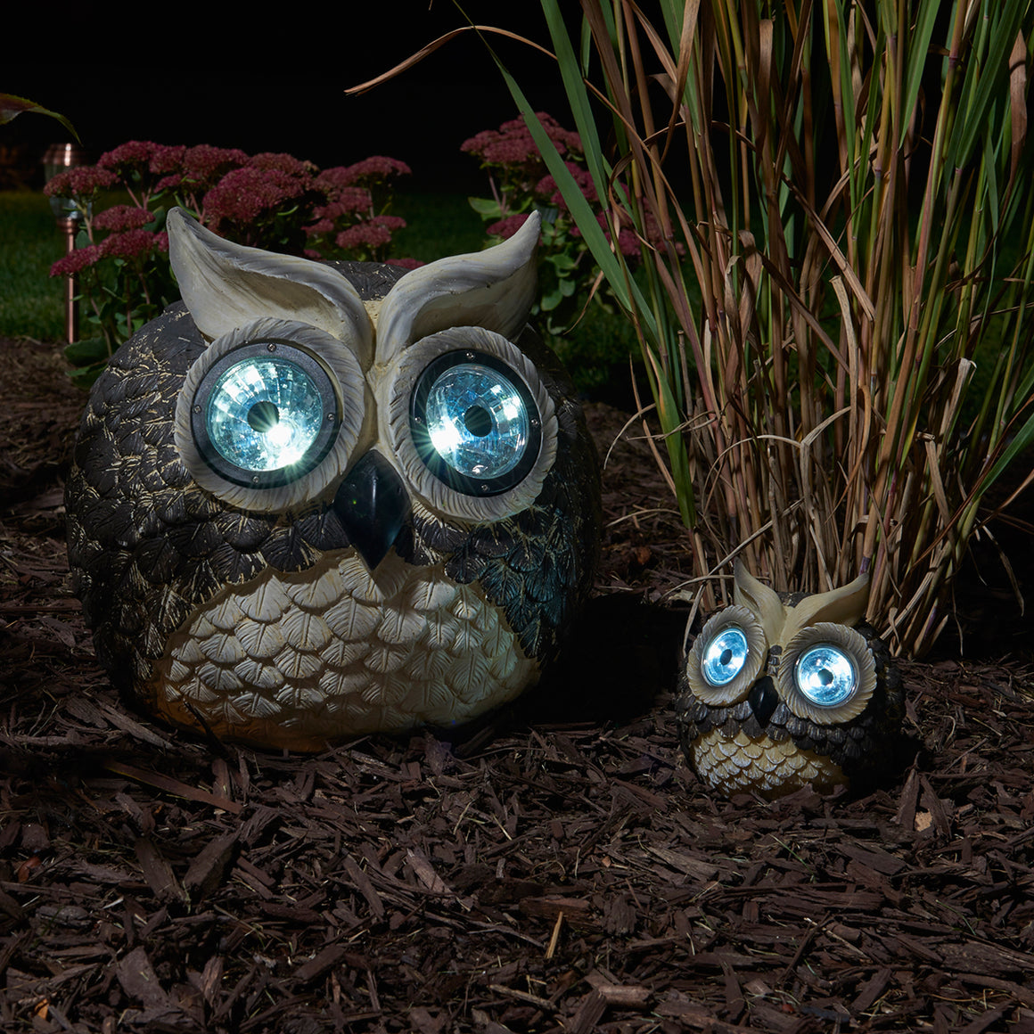 "Mother & Baby Solar Garden Pal - Owl Set (Large 12"", small 5"" H)"