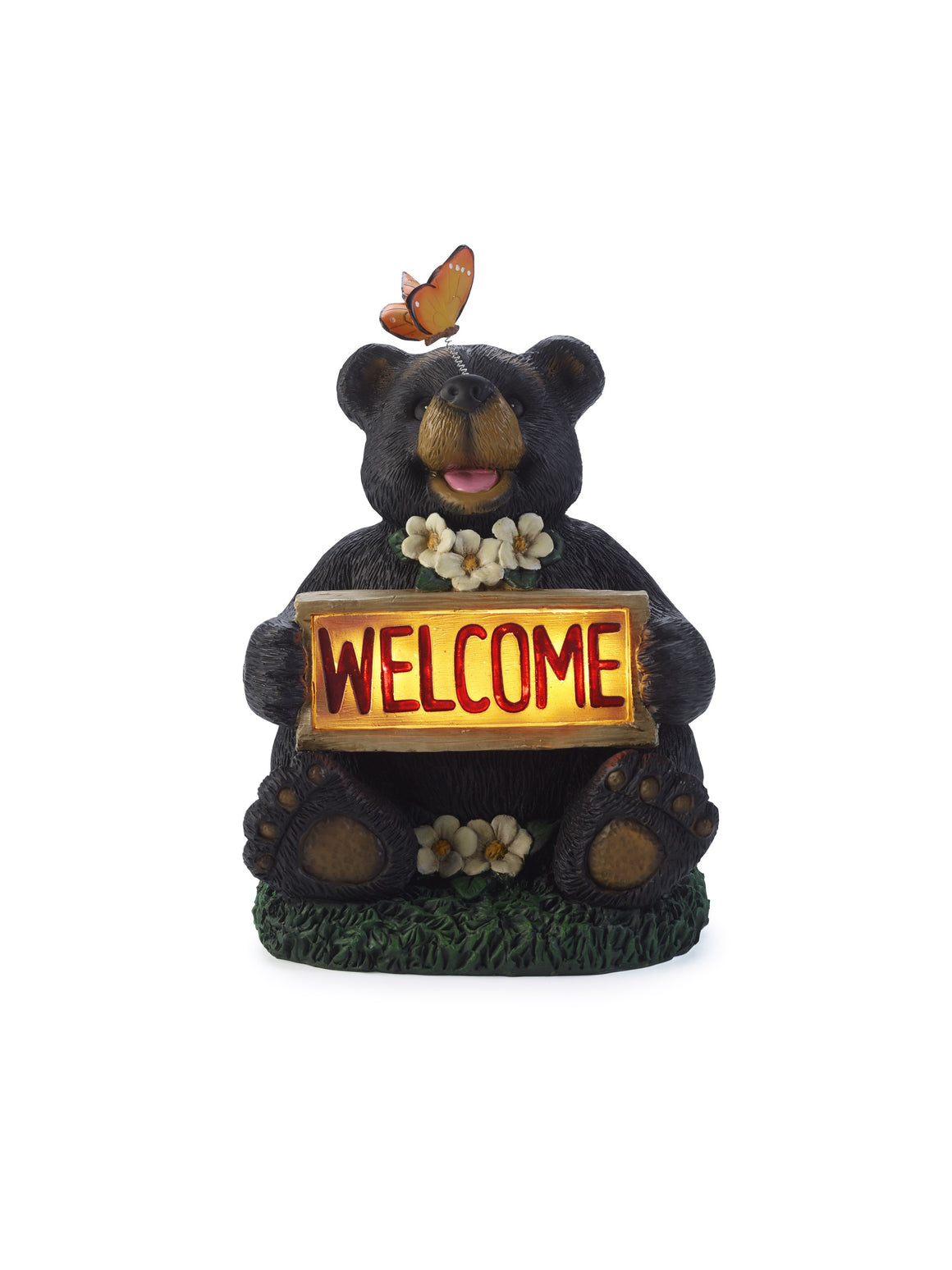 Solar Welcome Bear with Butterfly