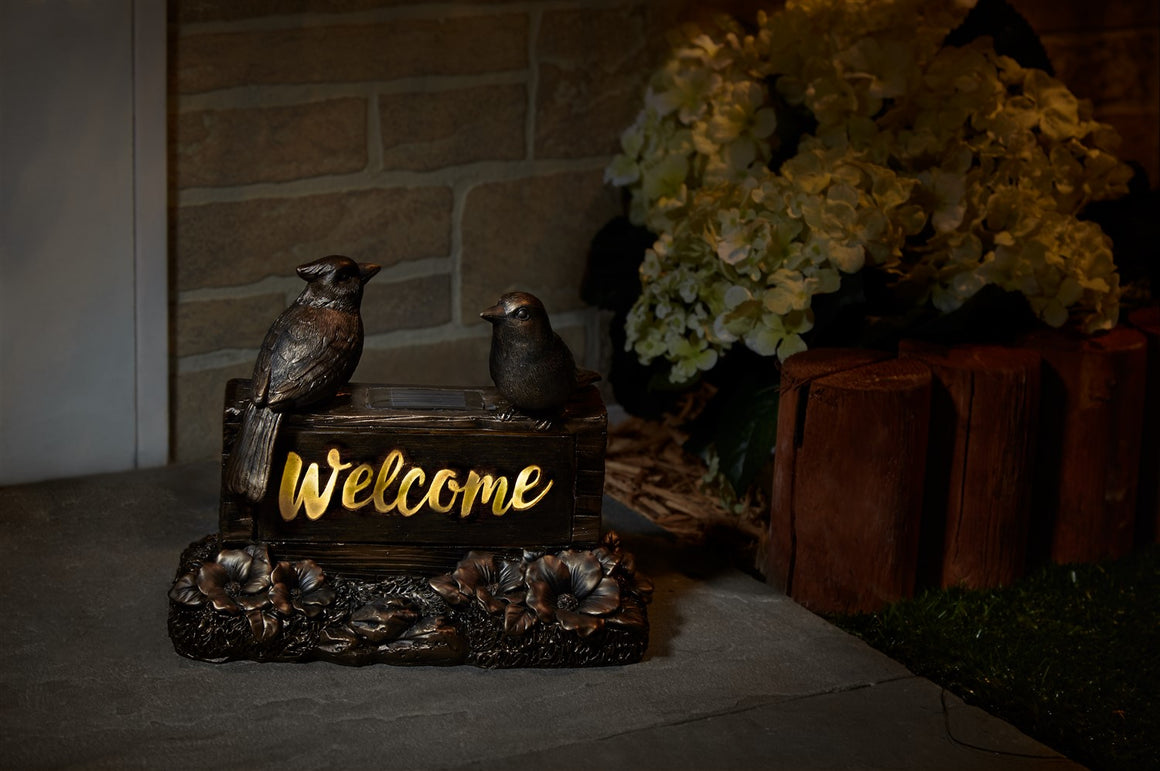 Solar Welcome Birds Sign