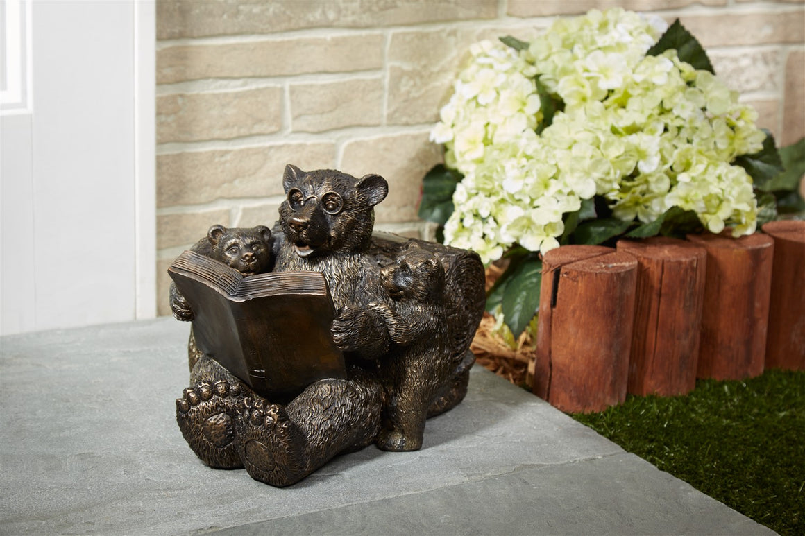 Reading Bear Family Solar Statue