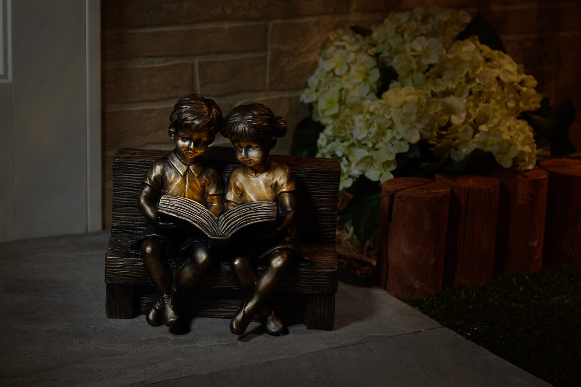 Reading Boy & Girl Solar Statue