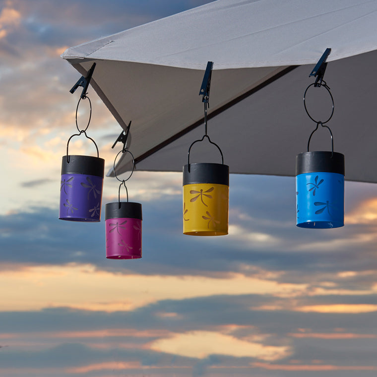 Fiesta Hanging Umbrella Solar Lanterns - Set of 4