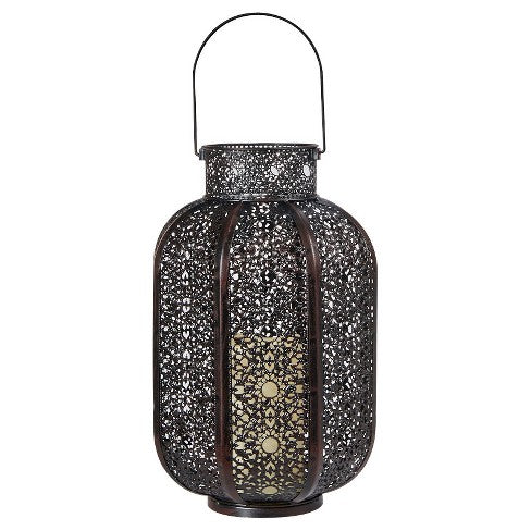 "Cadiz 17"" H LED Candle Lantern - Black"