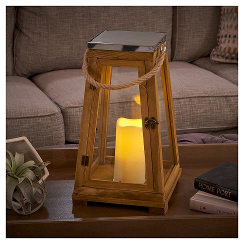 "Newport 15"" LED Candle Lantern - Natural Wood"