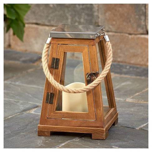 "Newport 9"" LED Candle Lantern - Natural Wood"