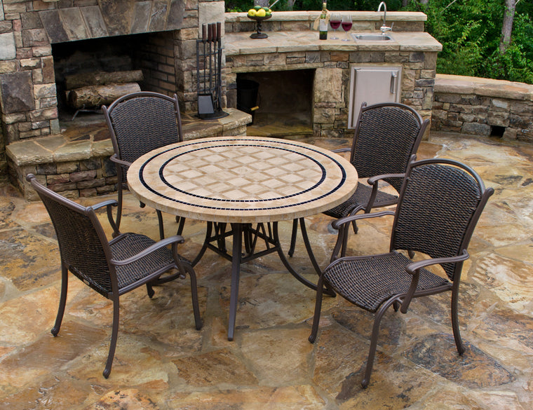 "Marquesas 5Pc Dining Set (4 arm chairs, 48"" stone table)"