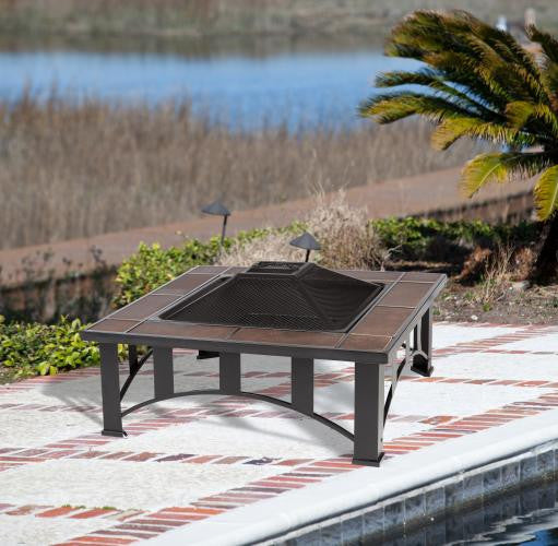 Tuscan Tile Square Fire Pit , Well Traveled Living- grayburd