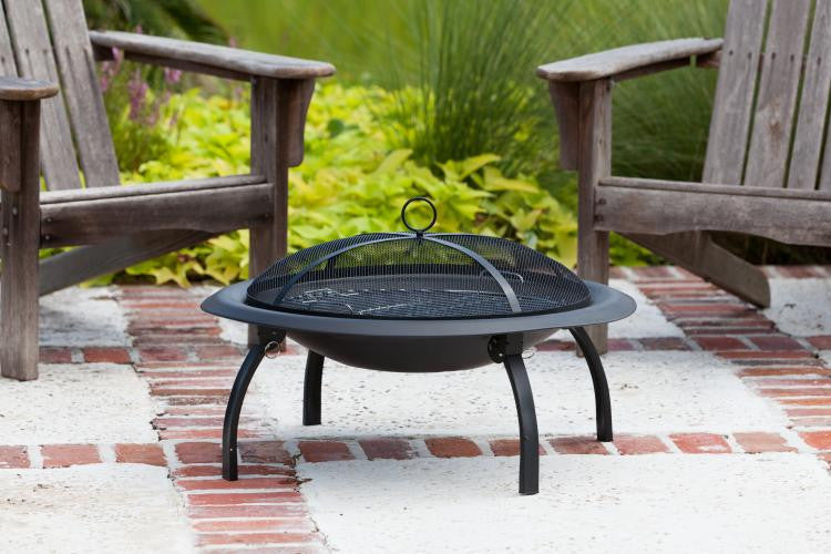 "29"" Folding Fire Pit with Fire Screen and Carrying Bag , Well Traveled Living- grayburd"