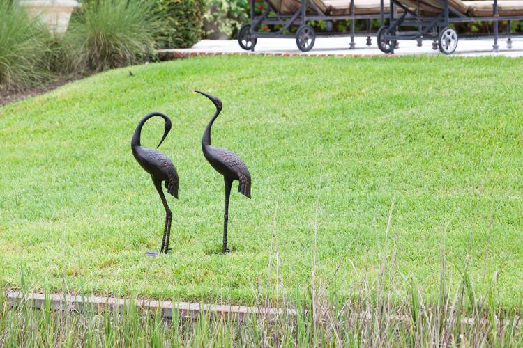 Patio Antique Bronze Cast Aluminum Female Crane , Well Traveled Living- grayburd