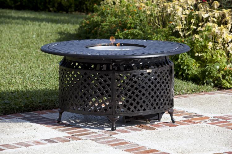 Venza Cast Aluminum Round LPG Fire Pit , Well Traveled Living- grayburd