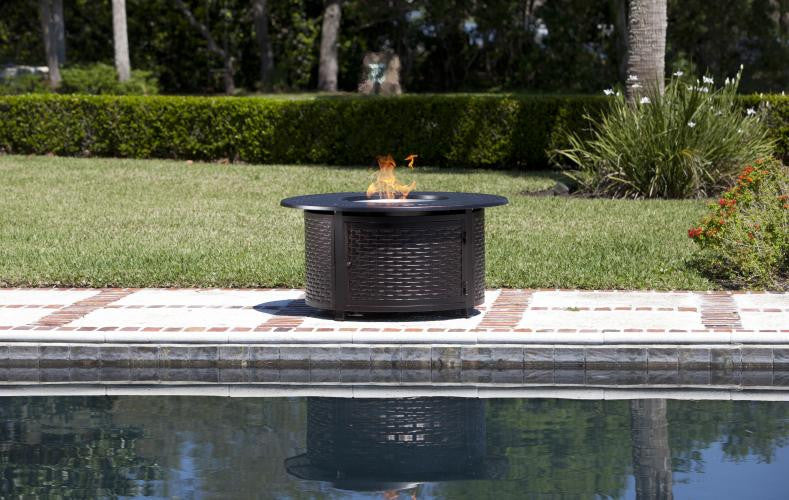 Stunning Bellante Woven Cast Aluminum LPG Fire Pit , Well Traveled Living- grayburd